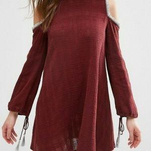 ASOS burgundy cutout shoulder mini dress w/ tassel